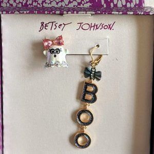 NWT Betsey Johnson Ghost & Boo  Halloween Earrings